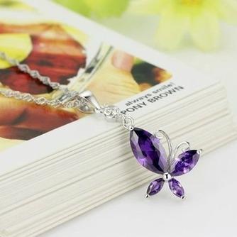 Moda púrpura diamante incrustaciones insectos collar y colgante de plata - Página 1