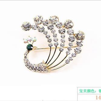 Diamante de incrustaciones colorido pavo real temperamento broche - Página 3