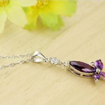 Moda púrpura diamante incrustaciones insectos collar y colgante de plata - Página 3
