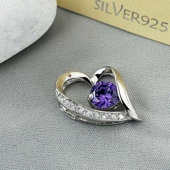 púrpura en forma de corazón de plata con incrustaciones diamantes joyas de las mujeres collar y colgante - Página 1