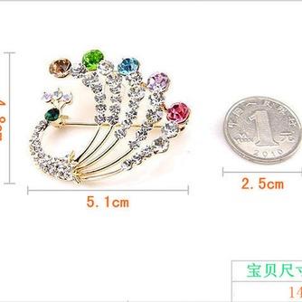 Diamante de incrustaciones colorido pavo real temperamento broche - Página 5