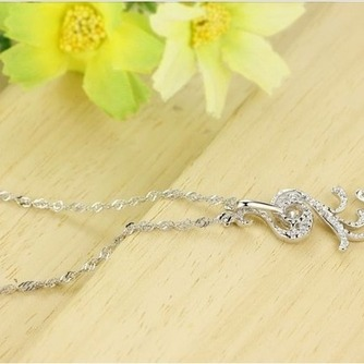 Con incrustaciones de diamante mujer moda Peacock collar y colgante de plata - Página 4