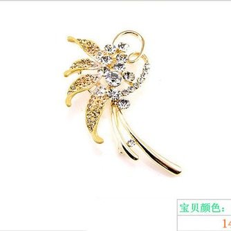 Con incrustaciones de diamante hoja Top grade broche de flores de cristal de las mujeres - Página 4