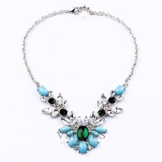 Joya con incrustaciones de aleación collar y colgante de cristal de flores de boda - Página 1