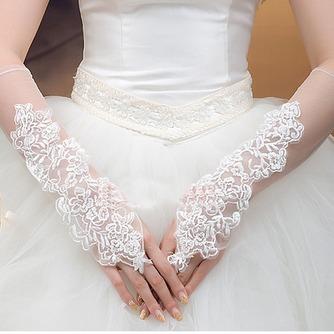Guante de la boda primavera Romántico Apliques Playa tul - Página 1