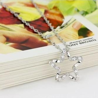 Clavícula mujeres plata cinco puntas estrella con incrustaciones diamante collar y colgante - Página 3