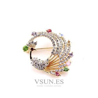 Con incrustaciones de diamante colorido broche pavo real de aleación - Página 1