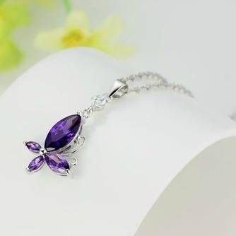 Moda púrpura diamante incrustaciones insectos collar y colgante de plata - Página 2