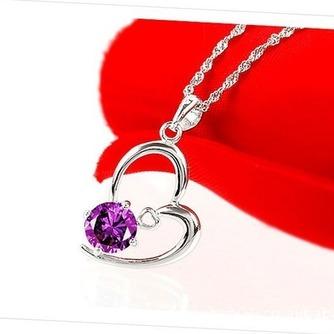 Mujeres púrpura en forma de corazón de cristal collar y colgante de plata - Página 2