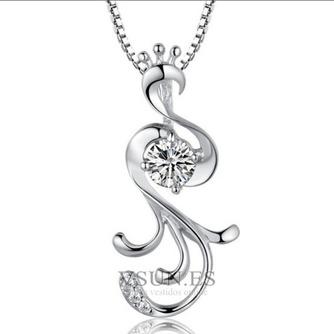 Con incrustaciones de diamante mujer moda Peacock collar y colgante de plata - Página 1