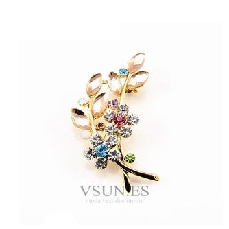 Venta caliente con incrustaciones de diamante mujer accesorios broche de hojas de cristal - Página 1