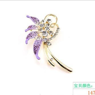 Con incrustaciones de diamante hoja Top grade broche de flores de cristal de las mujeres - Página 3