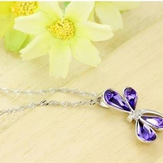 Libélula mujeres Cristal púrpura suministro por mayor collar y colgante de plata - Página 4