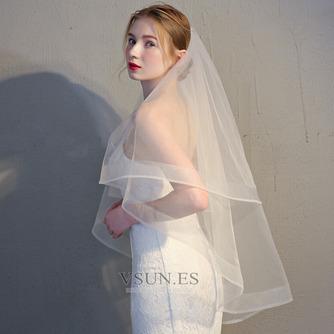Velo de novia con velo doble velo corto de ribete corto velo retro - Página 3
