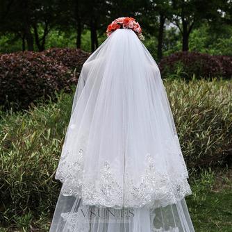 Nuevo velo de tres capas de encaje al por mayor accesorios de boda de velo de cola nupcial - Página 2