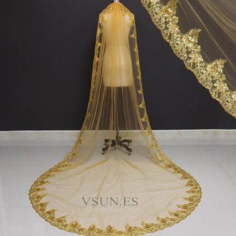 3M lentejuelas doradas velo de novia velo de lentejuelas velo velo de novia catedral - Página 3
