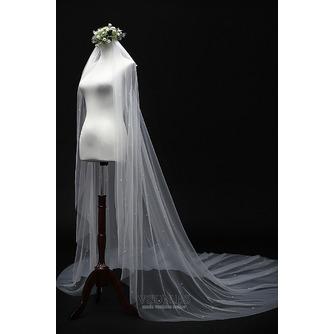 Velo de perlas novia princesa velo blanco simple 3M - Página 3