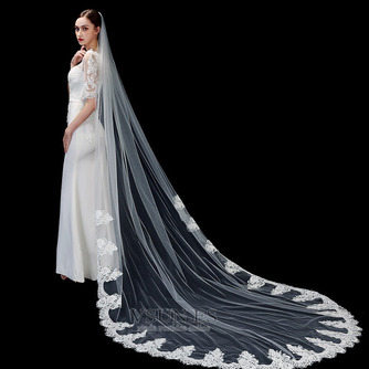 Velo de novia blanco puro marfil aplique de encaje de alta gama accesorios de boda de velo largo de 3 metros - Página 2
