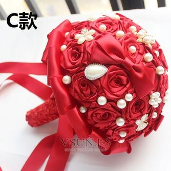 Novia de la mano de diamante perla con flores ramo de Dama de honor de boda personalizados cinta rosas - Página 3