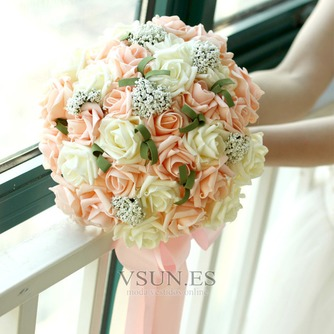 Manojo de flores 30 de celebración de matrimonio de champagne simulación rosa flor de Dama de honor de la novia - Página 1