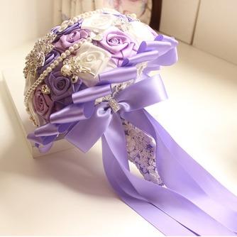 Rosas de púrpura tema boda la novia ramo diamante toma flores de mano perla - Página 3
