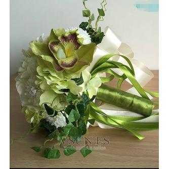 Novia de crisantemo de seda de bolas partido verde y blanco con flores - Página 2