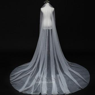 Velo de perlas novia princesa velo blanco simple 3M - Página 1