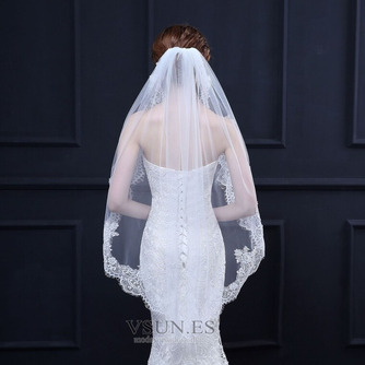 Velo de novia velo de encaje corto con velo de peine de metal accesorios nupciales - Página 1