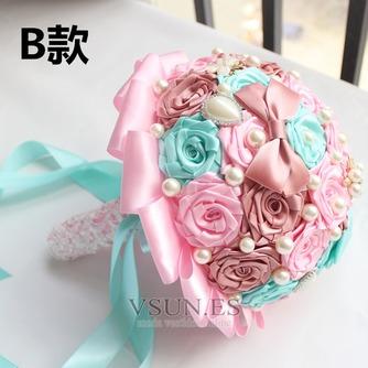 Novia de la mano de diamante perla con flores ramo de Dama de honor de boda personalizados cinta rosas - Página 2