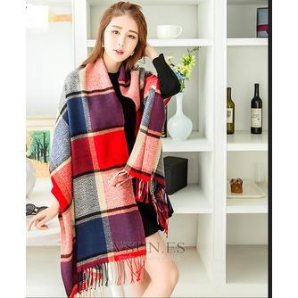 Bufanda gruesa rejilla imitación Cachemira cálida Bufanda mantón con siempre - Página 1