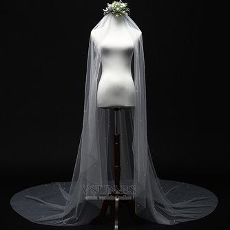 Velo de perlas novia princesa velo blanco simple 3M - Página 2