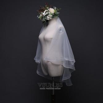 Velo de novia con velo doble velo corto de ribete corto velo retro - Página 6