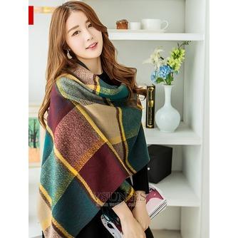 Bufanda gruesa rejilla imitación Cachemira cálida Bufanda mantón con siempre - Página 6