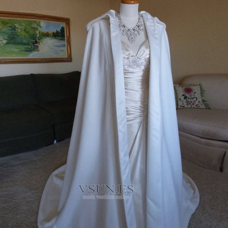 200CM chal de novia capa de satén chal blanco con capucha - Página 6