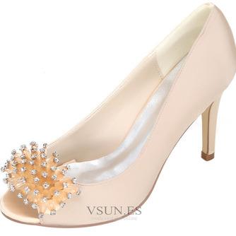 Zapatos de boda para mujer, boca baja, cabeza de pez, tacones altos, diamantes de imitación, zapatos individuales, sandalias de vestido de banquete de dama de honor - Página 7