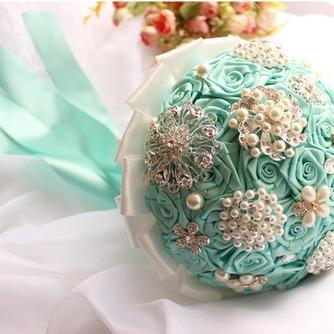 Diamante perla de la mano de la cinta de flores ramo de Novia de la cinta rosa con flor - Página 3