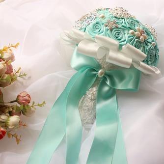 Diamante perla de la mano de la cinta de flores ramo de Novia de la cinta rosa con flor - Página 2