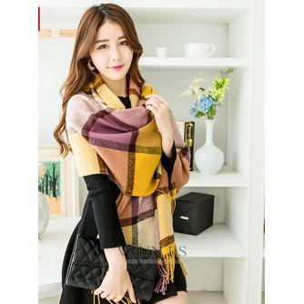 Bufanda gruesa rejilla imitación Cachemira cálida Bufanda mantón con siempre - Página 2