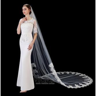 Velo de novia blanco puro marfil aplique de encaje de alta gama accesorios de boda de velo largo de 3 metros - Página 3