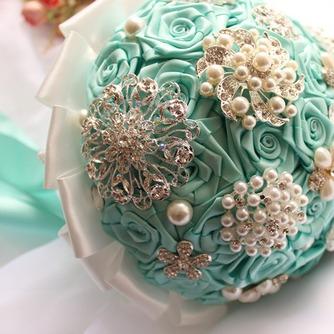 Diamante perla de la mano de la cinta de flores ramo de Novia de la cinta rosa con flor - Página 1