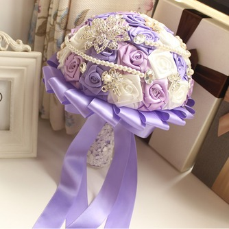 Rosas de púrpura tema boda la novia ramo diamante toma flores de mano perla - Página 1