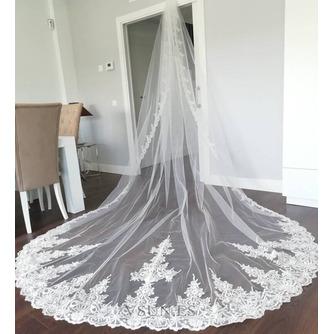 Velo de encaje de cola de iglesia velo de novia de novia velo de encaje de lujo - Página 4