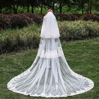 Nuevo velo de tres capas de encaje al por mayor accesorios de boda de velo de cola nupcial - Página 1