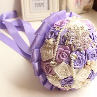 Rosas de púrpura tema boda la novia ramo diamante toma flores de mano perla - Página 2