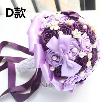Novia de la mano de diamante perla con flores ramo de Dama de honor de boda personalizados cinta rosas - Página 4