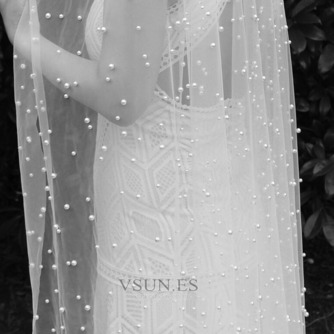 velo de perlas de lujo nupcial velo de perlas de boda velo de novia accesorios - Página 2