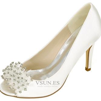 Zapatos de boda para mujer, boca baja, cabeza de pez, tacones altos, diamantes de imitación, zapatos individuales, sandalias de vestido de banquete de dama de honor - Página 1
