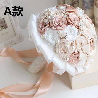 Novia de la mano de diamante perla con flores ramo de Dama de honor de boda personalizados cinta rosas - Página 1