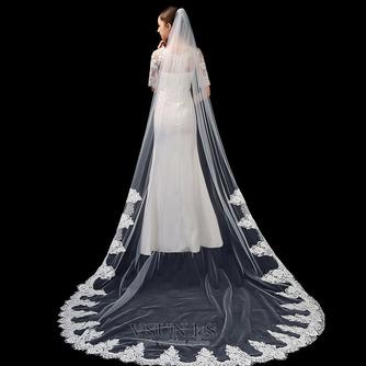 Velo de novia blanco puro marfil aplique de encaje de alta gama accesorios de boda de velo largo de 3 metros - Página 1