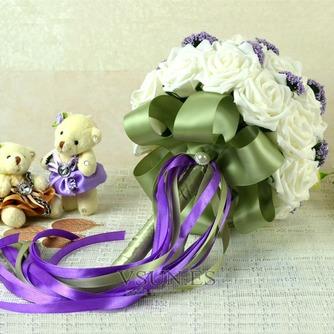 Ramos de novia blancas de la celebración de un regalo de boda ramo de novia regalo pura simulación manual - Página 4
